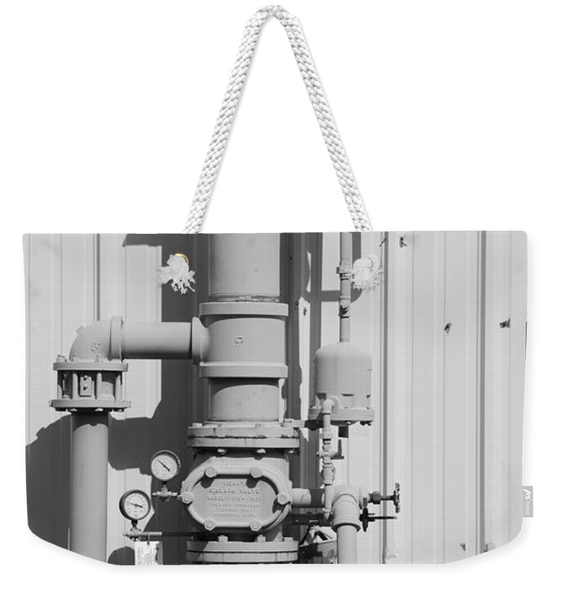 Black And White Weekender Tote Bag featuring the photograph Mechanical Doo Dad by Rob Hans