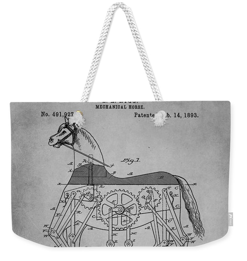 Patent Weekender Tote Bag featuring the mixed media Mechanical Horse Patent Art 1f by Brian Reaves