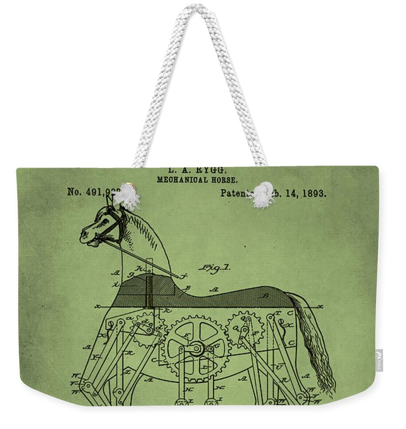 Patent Weekender Tote Bag featuring the mixed media Mechanical Horse Patent Art 1p by Brian Reaves