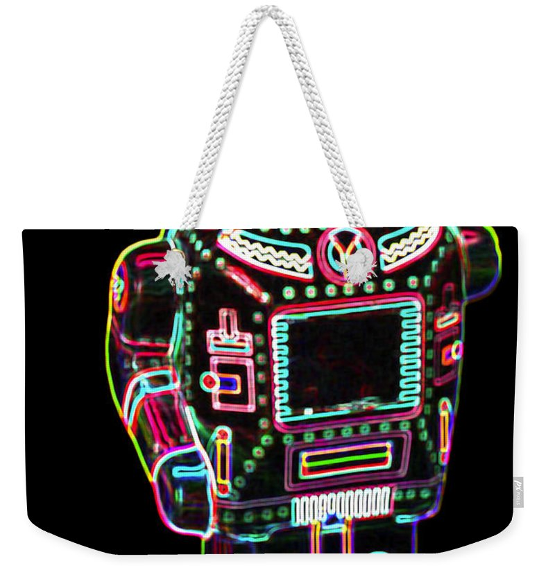 Robot Weekender Tote Bag featuring the digital art Mechanical Mighty Sparking Robot by DB Artist
