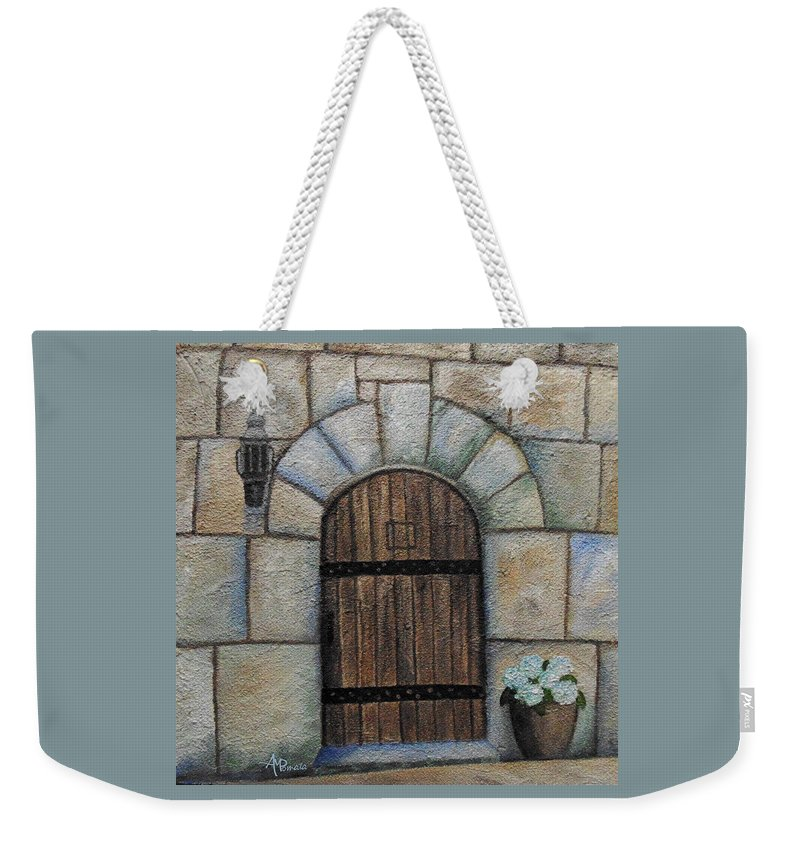 Medieval Door Weekender Tote Bag featuring the painting Medieval Door by Angeles M Pomata
