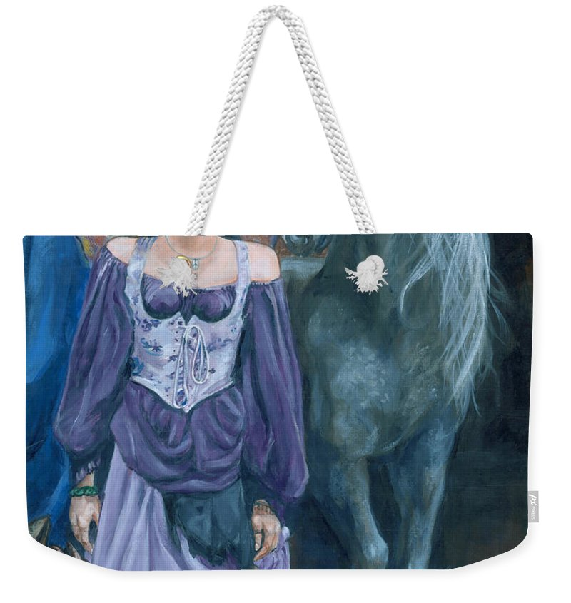 Fairy Faerie Unicorn Dragon Renaissance Festival Weekender Tote Bag featuring the painting Medieval Fantasy by Bryan Bustard