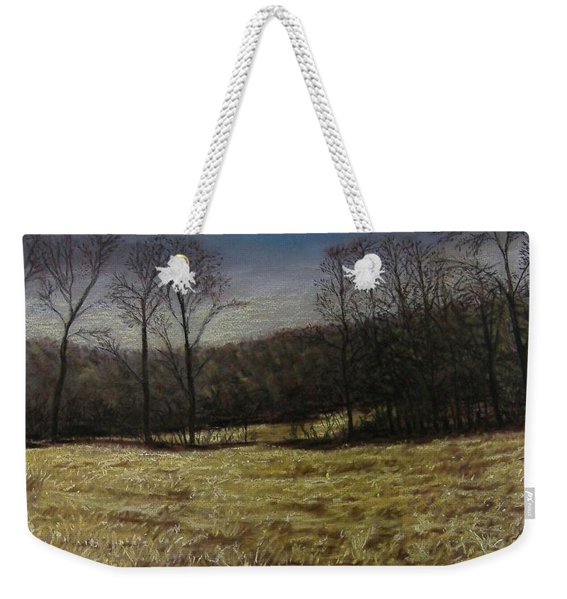 Landscape Weekender Tote Bag featuring the pastel Medina Cornfield by Pat Snook