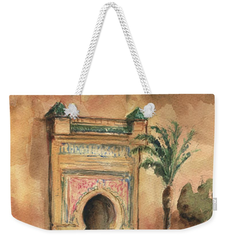 Morocco Art Weekender Tote Bag featuring the painting Medina Morocco, by Juan Bosco