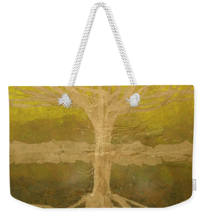 Abstract Weekender Tote Bag featuring the painting Meditation by Leah Tomaino