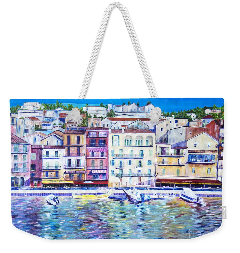 France Weekender Tote Bag featuring the painting Mediterranean Morning by JoAnn DePolo