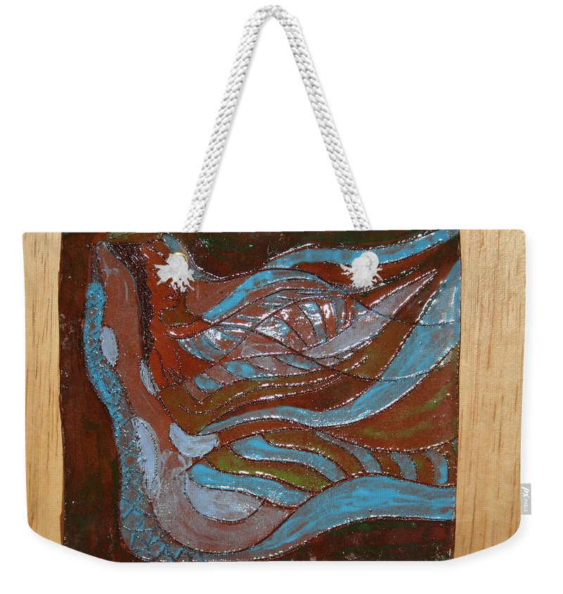 Jesus Weekender Tote Bag featuring the ceramic art Medusa - Tile by Gloria Ssali
