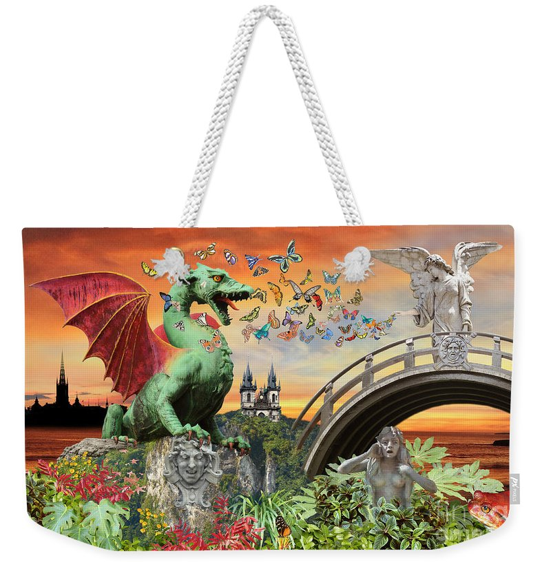 Surreal Art Weekender Tote Bag featuring the photograph Medusa's Realm at Sunset by Lucy Arnold