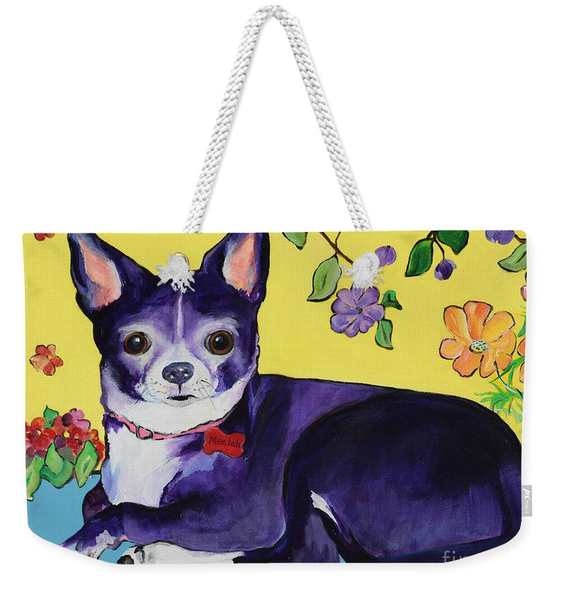 Weekender Tote Bag featuring the painting Meelah by Pat Saunders-White