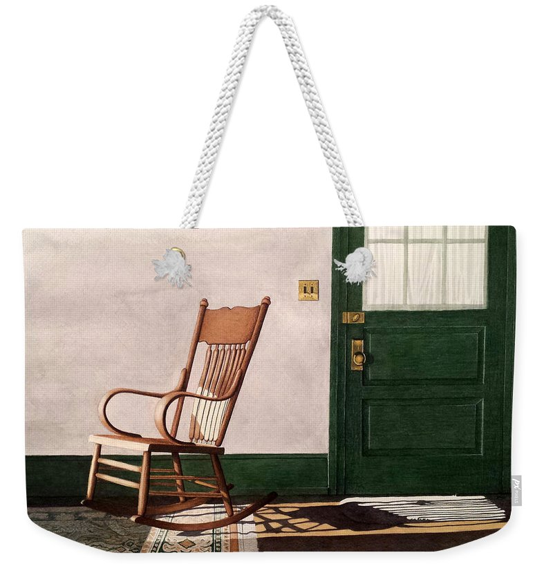 Rocking Chair Weekender Tote Bag featuring the painting Meet Me In The Morning by Beth Waltz