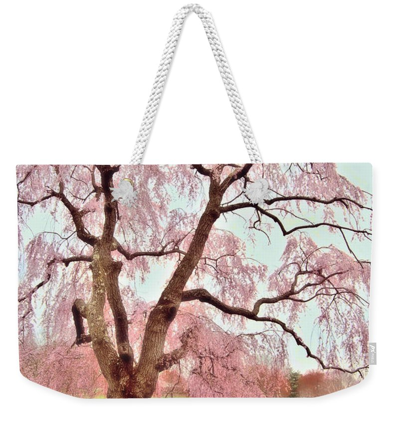 Cherry Blossom Trees Weekender Tote Bag featuring the photograph Meet Me Under The Pink Blooms Beside The Pond - Holmdel Park by Angie Tirado