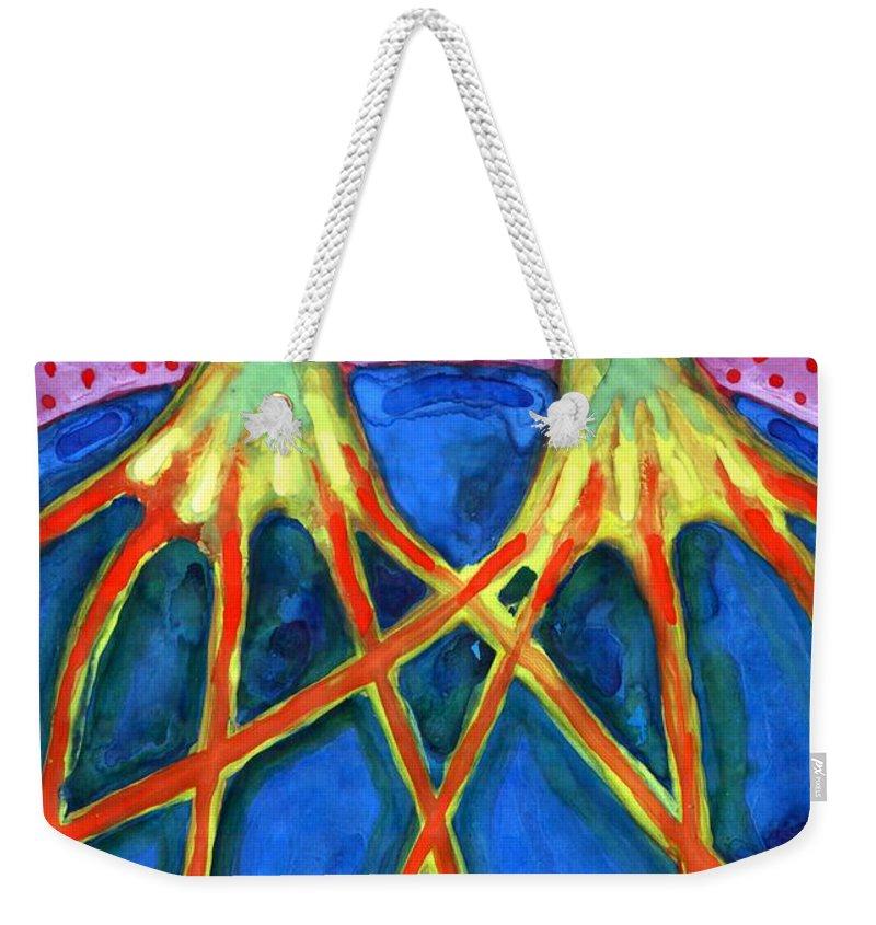Colour Weekender Tote Bag featuring the painting Meeting by Wojtek Kowalski