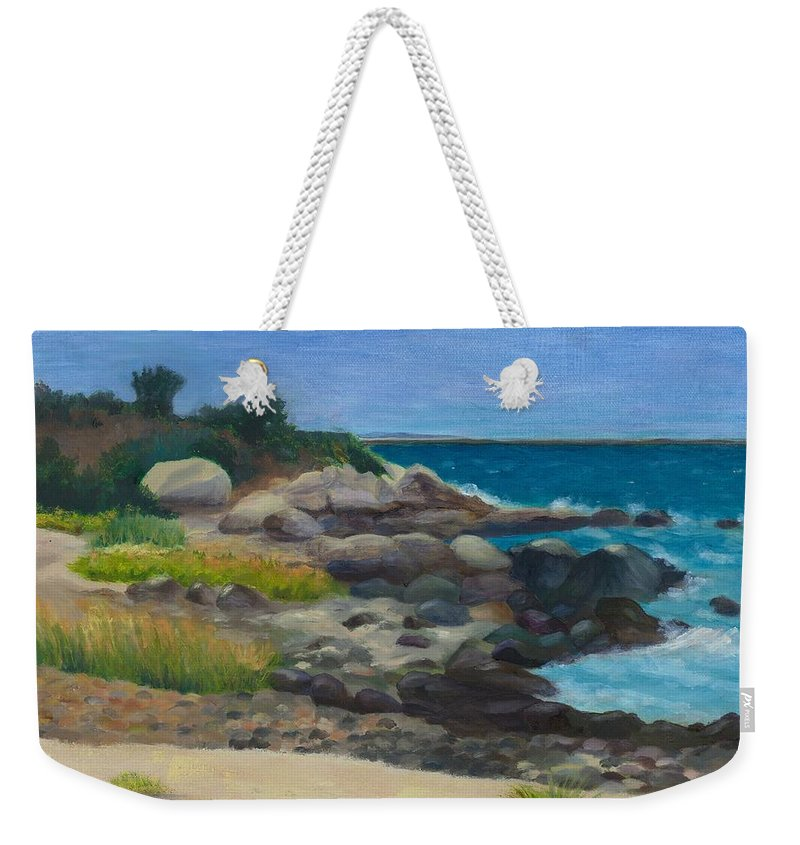 Landscape Weekender Tote Bag featuring the painting Meigs Point by Paula Emery