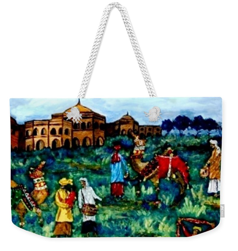Oil Painting Weekender Tote Bag featuring the painting Mela - Carnival by Fareeha Khawaja