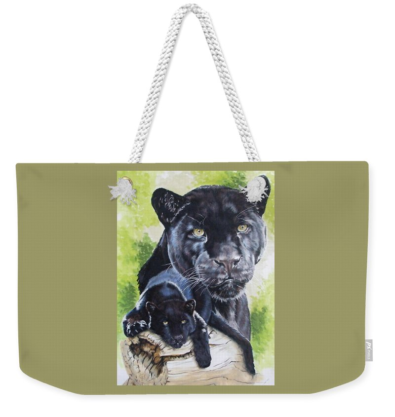 Big Cat Weekender Tote Bag featuring the mixed media Melancholy by Barbara Keith