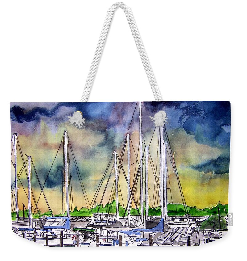Boat Weekender Tote Bag featuring the digital art Melbourne Florida Marina by Derek Mccrea