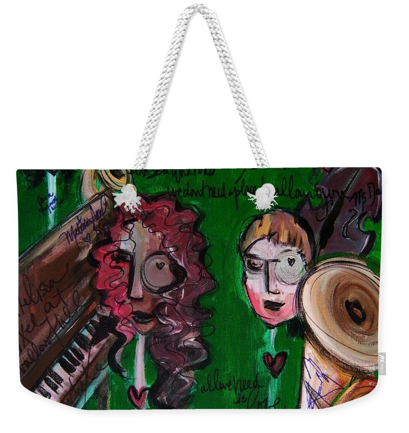 Melissa Axel Music Weekender Tote Bag featuring the painting Melissa Axel At Swallow Hill by Laurie Maves ART