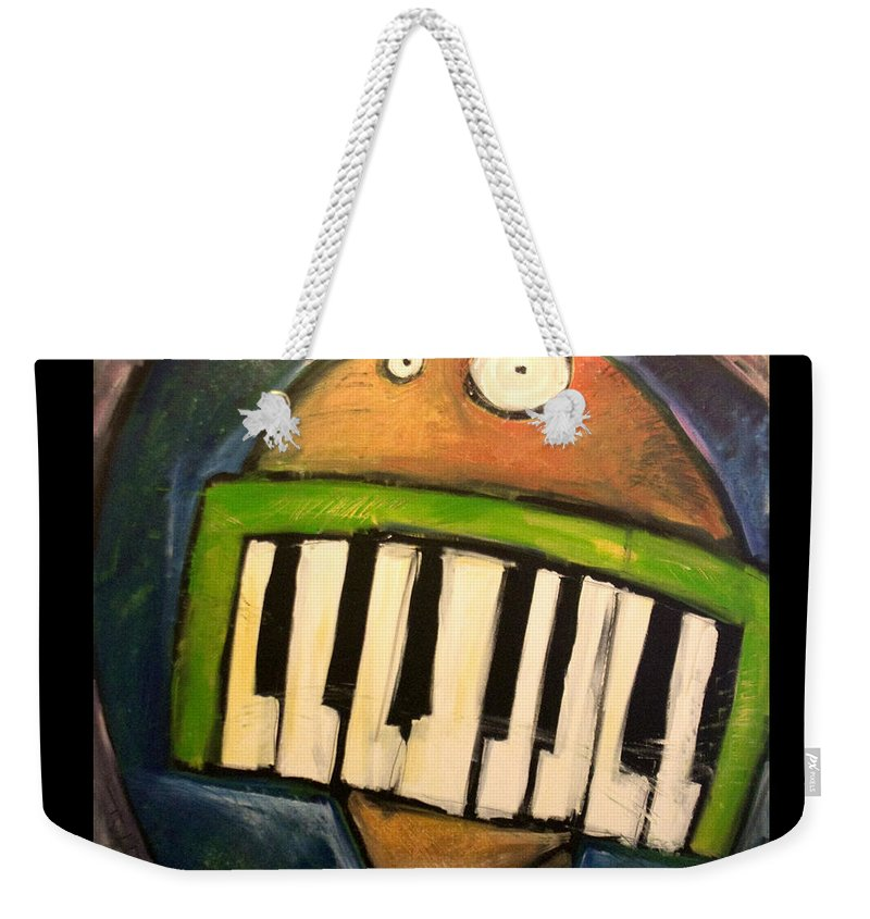 Funny Weekender Tote Bag featuring the painting Melodica Mouth by Tim Nyberg