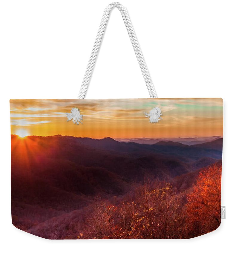 Mountain Sunrises Weekender Tote Bag featuring the photograph Melody Of Autumn by Karen Wiles