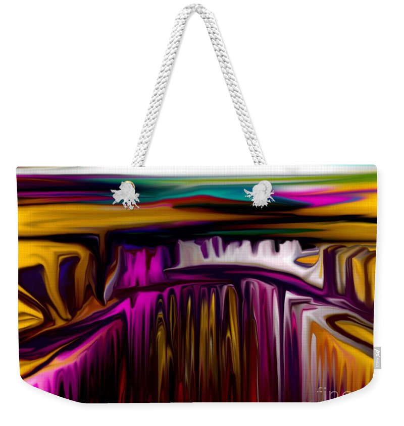 Abstract Weekender Tote Bag featuring the digital art Melting by David Lane