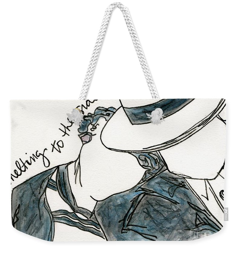 Figurative Weekender Tote Bag featuring the painting Melting To The Side by Hew Wilson