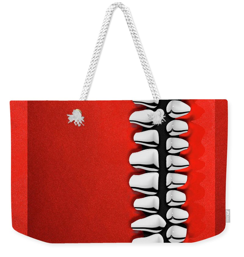 'memento Mori' Collection By Serge Averbukh Weekender Tote Bag featuring the digital art Memento Mori - Silver Human Teeth Over Red And Black Canvas by Serge Averbukh