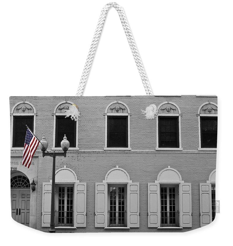 Roanoke Weekender Tote Bag featuring the photograph Memorial Day Flag Roanoke Virginia by Teresa Mucha