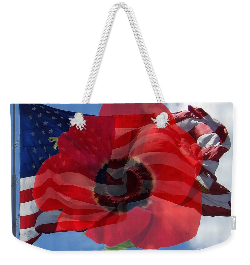 Flag Weekender Tote Bag featuring the photograph Memorial Day - Remembrance Day - Armistice Day by D Hackett