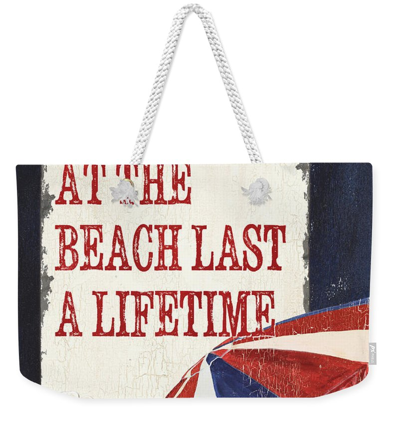 Beach Weekender Tote Bag featuring the painting Memories At The Beach by Debbie DeWitt