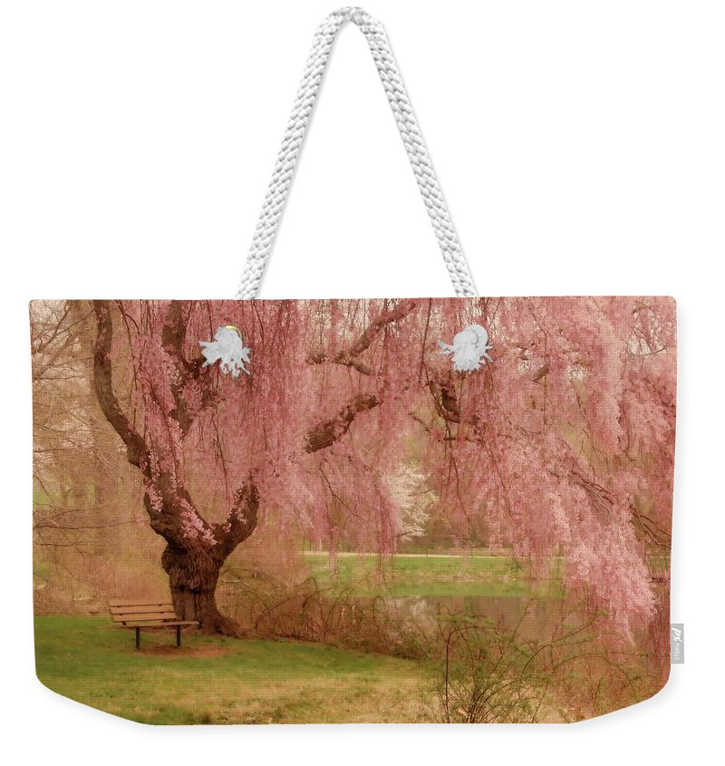 Cherry Blossom Trees Weekender Tote Bag featuring the photograph Memories - Holmdel Park by Angie Tirado