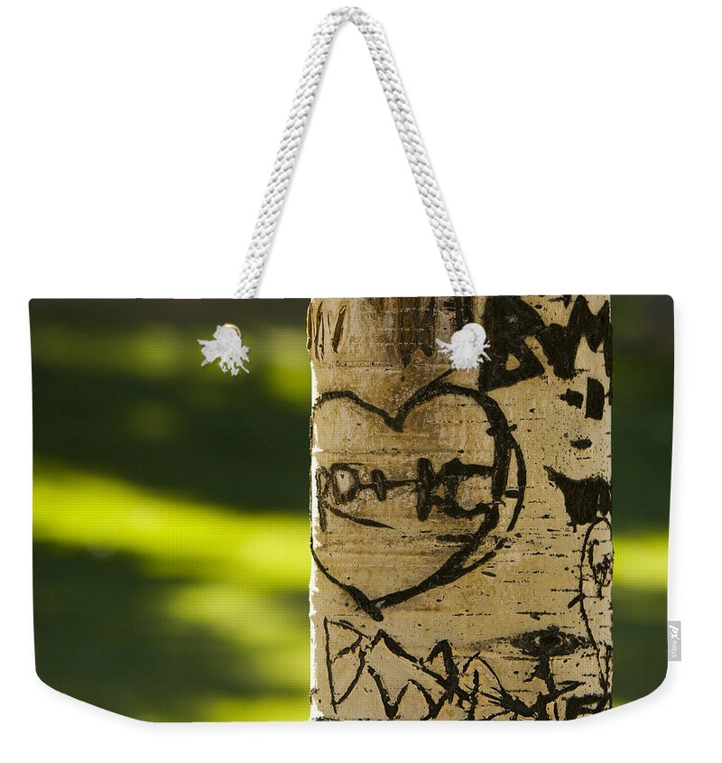Carvings Weekender Tote Bag featuring the photograph Memories In The Aspen Tree by James BO Insogna