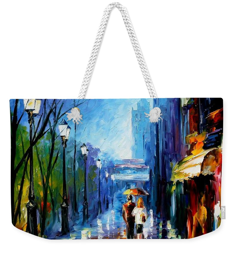 Afremov Weekender Tote Bag featuring the painting Memories Of Paris by Leonid Afremov