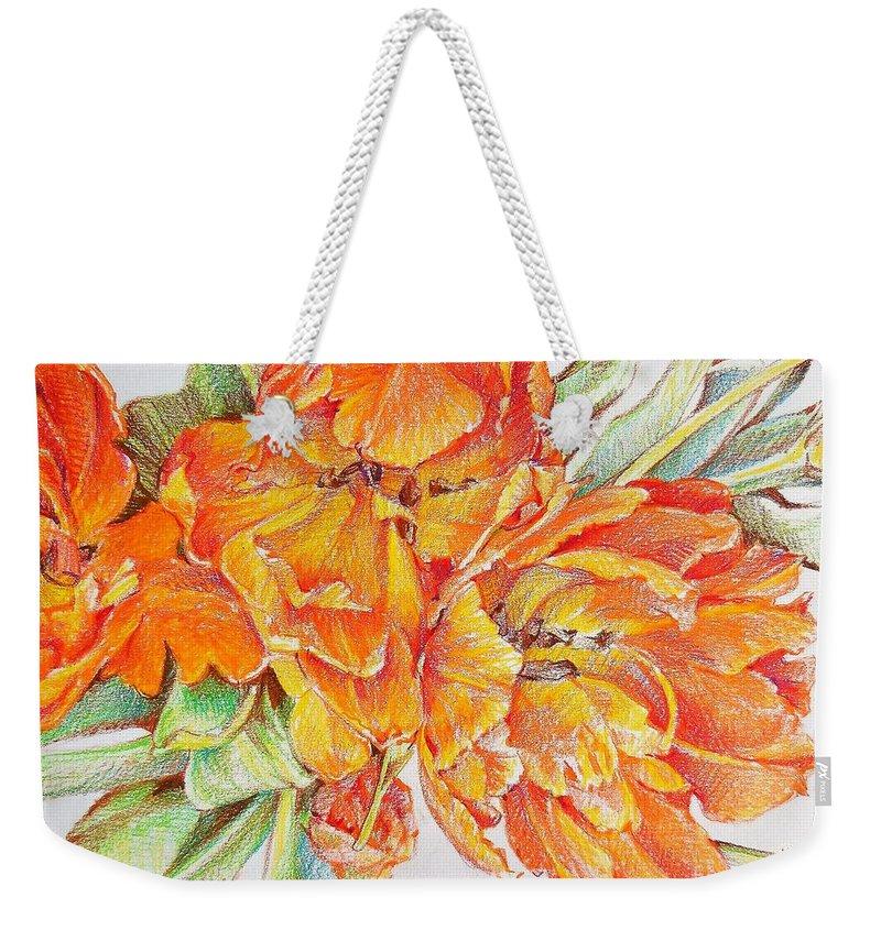 Spring Weekender Tote Bag featuring the drawing Memories Of Spring by K M Pawelec