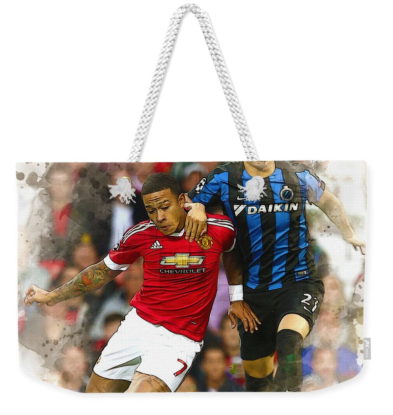 Uefa Chamipons League Weekender Tote Bag featuring the digital art Memphis Depay Of Manchester United In Action by Don Kuing