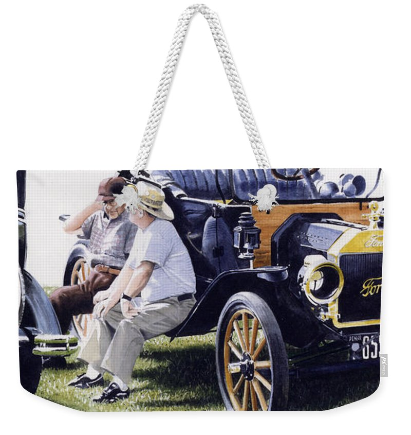 Antique Cars Weekender Tote Bag featuring the painting Men And Their Toys by Denny Bond