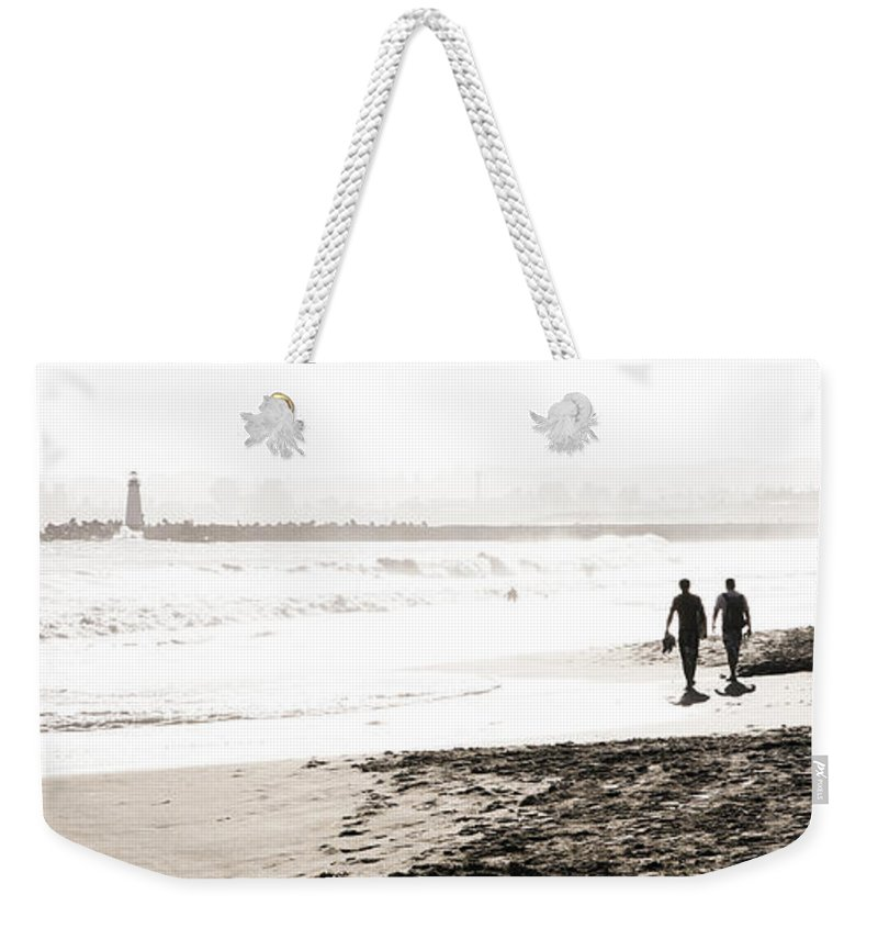 Men Weekender Tote Bag featuring the photograph Men On Beach by Marilyn Hunt