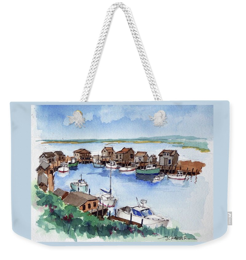 Marine Weekender Tote Bag featuring the painting Menemsha Safe Haven by John Crowther