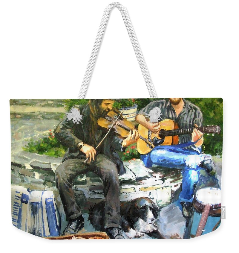 Musicians Weekender Tote Bag featuring the painting Mens Best Friend by Conor McGuire