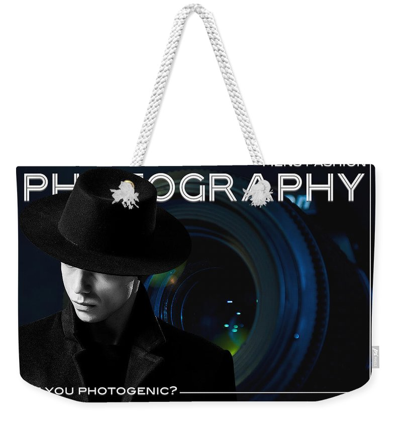 Mens Weekender Tote Bag featuring the mixed media Mens Fashion Photography Are You Photogenic by ISAW Gallery