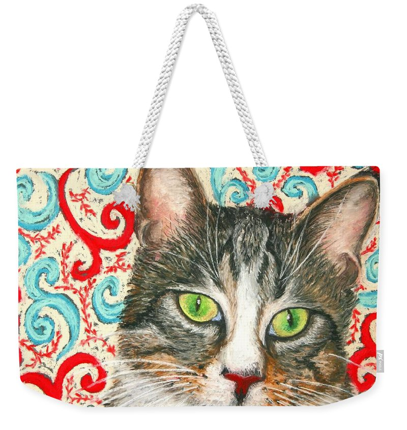 Cat Weekender Tote Bag featuring the painting Meow Please... by Minaz Jantz