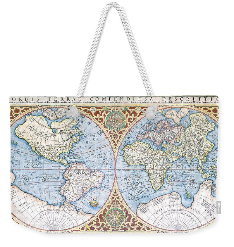1587 World Map.Mercator 1587 World Map 2 Weekender Tote Bag For Sale By C H Apperson