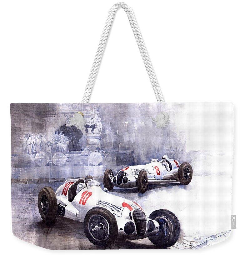 Watercolour Weekender Tote Bag featuring the painting Mercedes Benz W 125 1938 by Yuriy Shevchuk