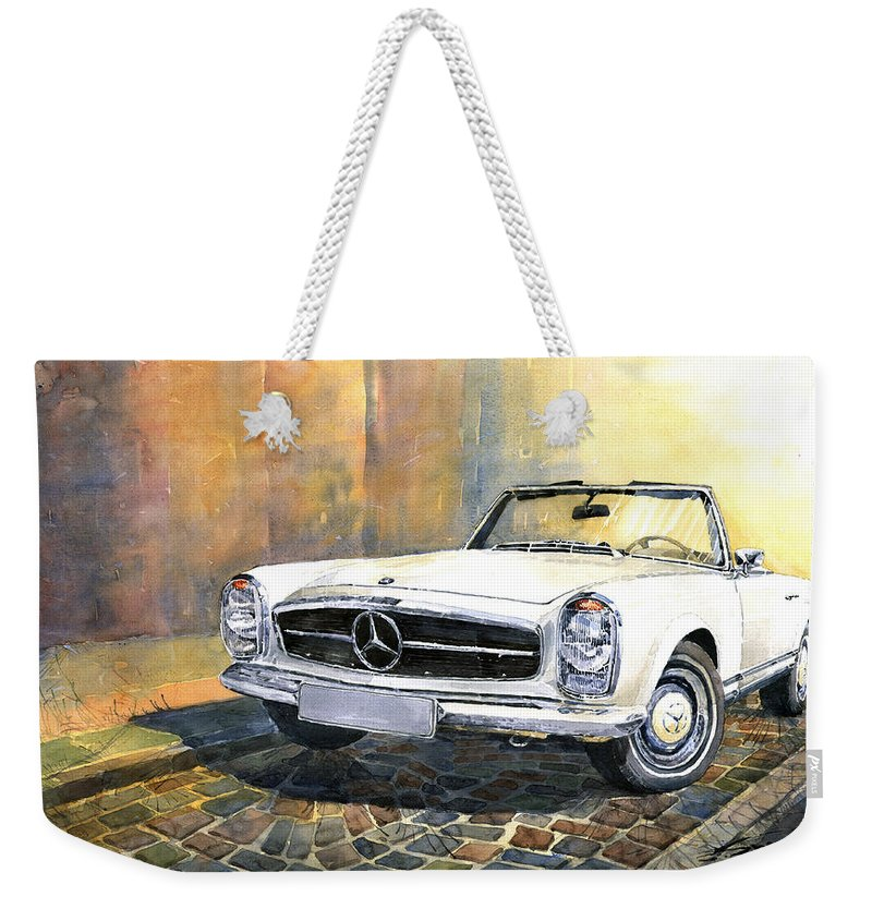 Auto Weekender Tote Bag featuring the painting Mercedes Benz W113 280 Sl Pagoda Front by Yuriy Shevchuk