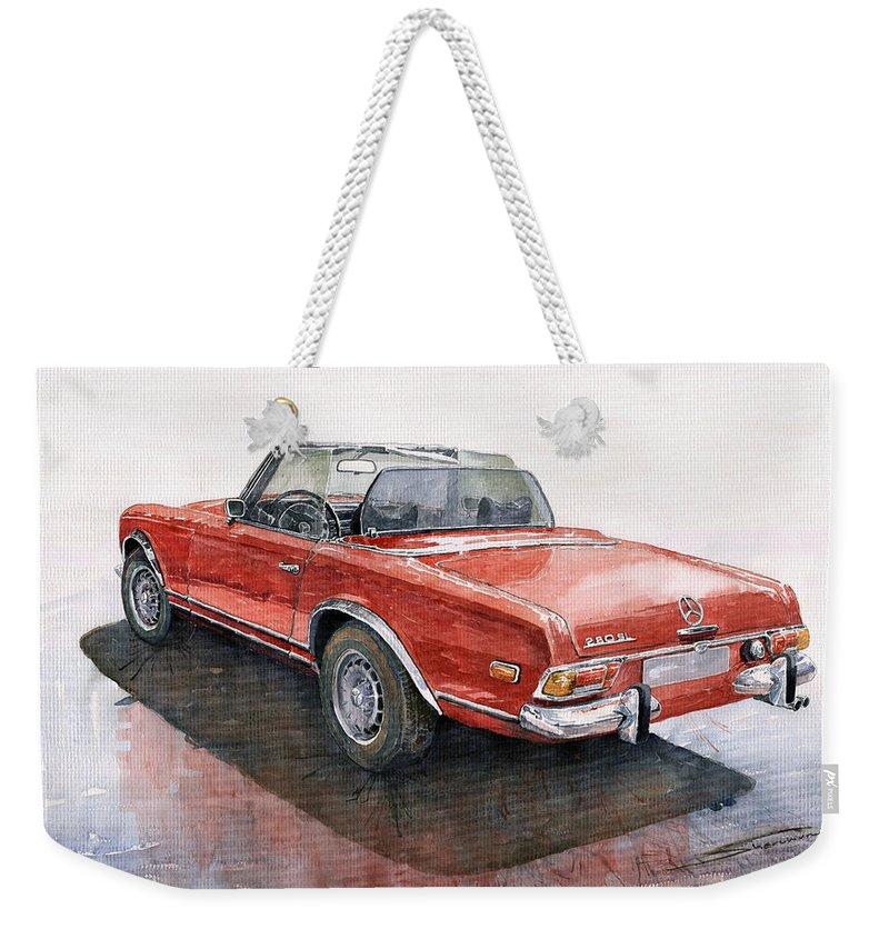 Auto Weekender Tote Bag featuring the painting Mercedes Benz W113 Sl280 by Yuriy Shevchuk