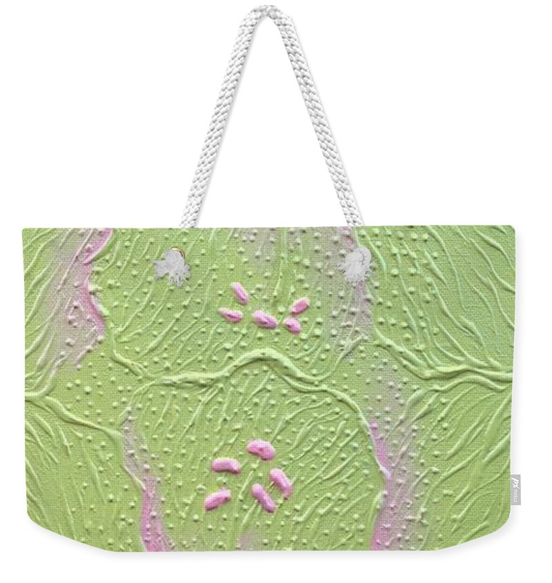 Lime Weekender Tote Bag featuring the painting Merging by Gordon Matthews