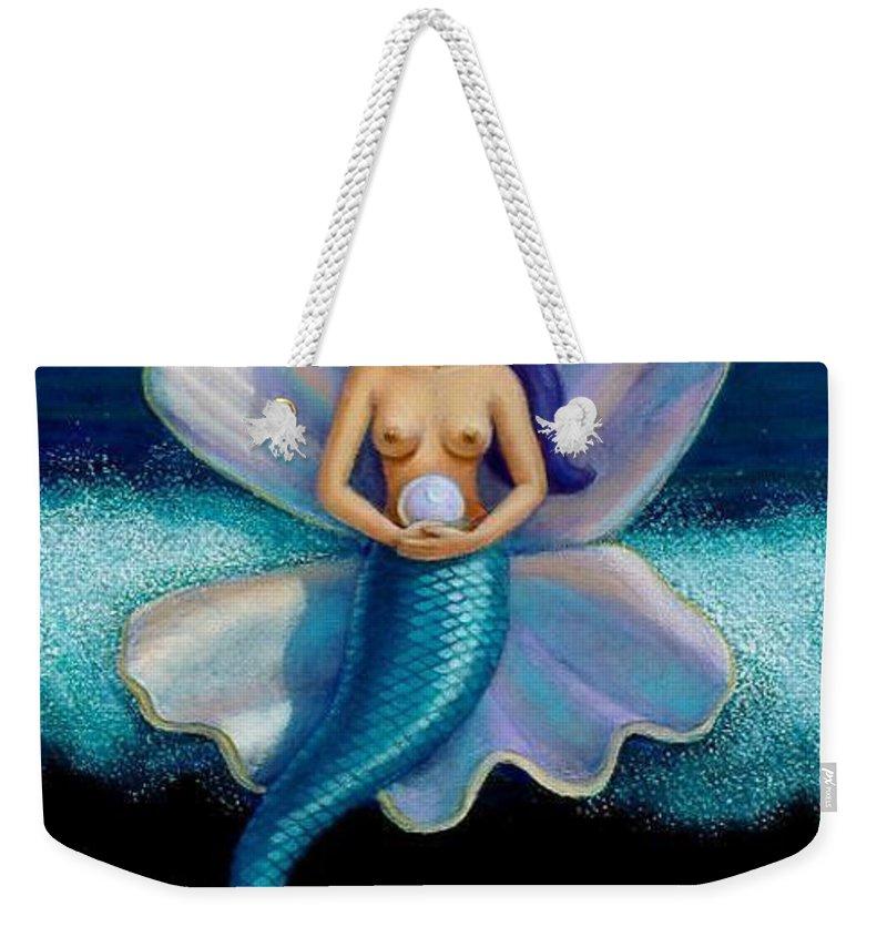 Mermaid Weekender Tote Bag featuring the painting Mermaid Art- Mermaid's Pearl by Sue Halstenberg