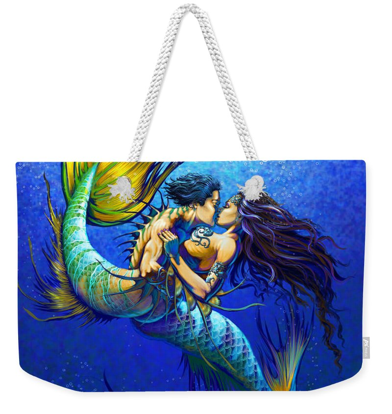 Mermaid Weekender Tote Bag featuring the painting Mermaid Kiss by Stanley Morrison