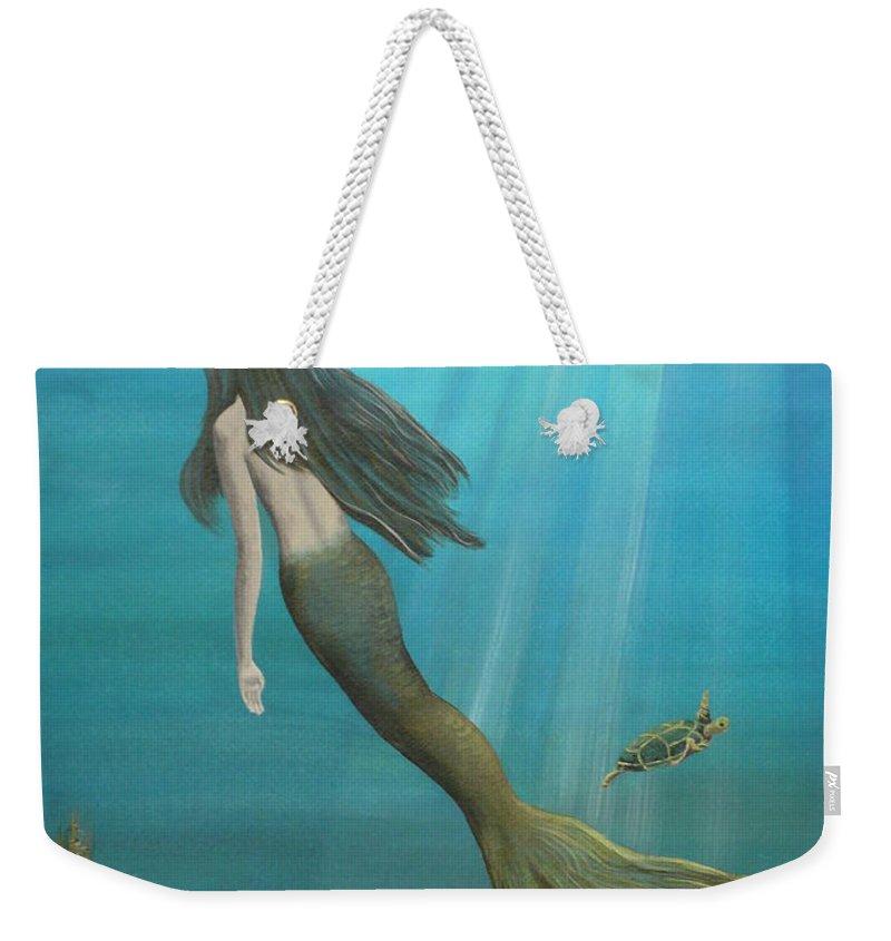 Mermaid Weekender Tote Bag featuring the painting Mermaid Of Weeki Wachee by Kris Crollard