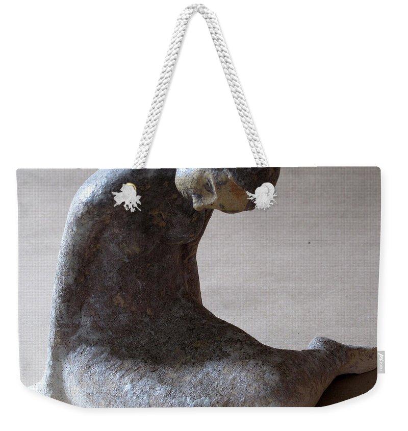 Sculpture Weekender Tote Bag featuring the sculpture Mermaid by Raimonda Jatkeviciute-Kasparaviciene