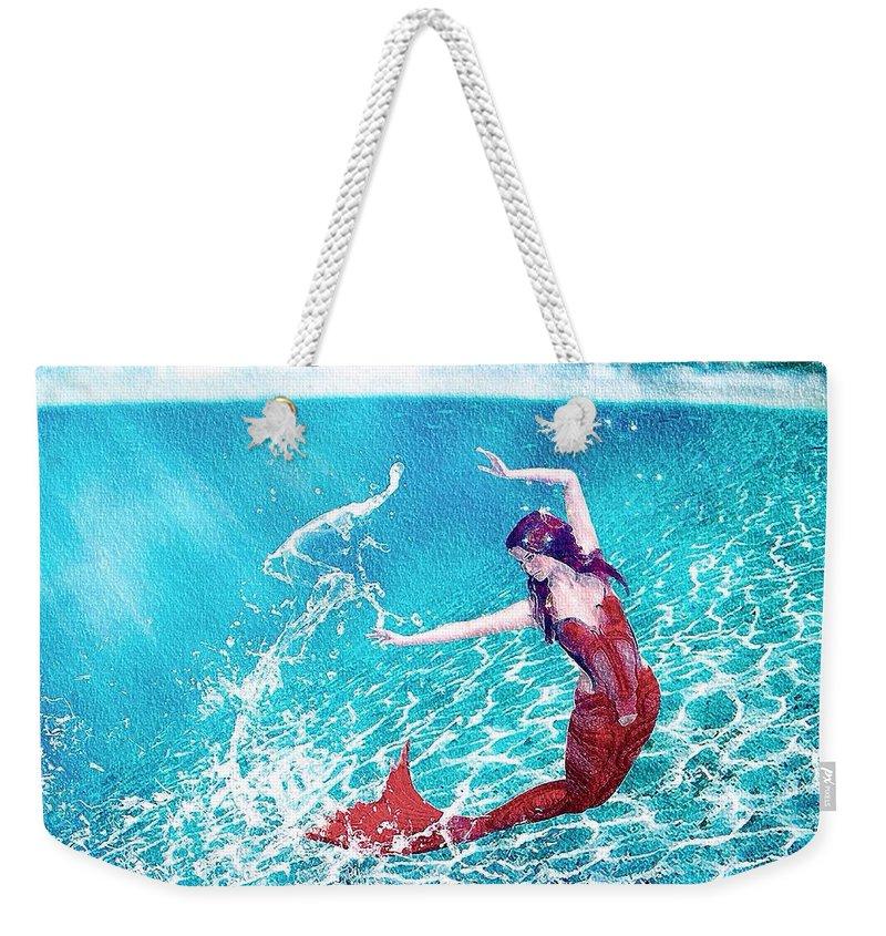 Mermaid Weekender Tote Bag featuring the painting Mermaid Red by Mark Taylor